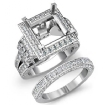3.4Ct Diamond Engagement Ring Princess Halo Bridal Sets 14k White Gold Setting - javda.com