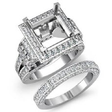 3.4 Ct Diamond Engagement Ring Princess Halo Bridal Sets 14K White Gold Setting