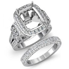 3.9Ct Diamond Engagement Ring Cushion Pave Bridal Set Semi Mount 14K White Gold