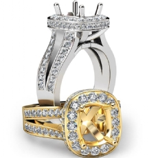 Diamond Engagement Cushion Semi Mount Ring18k Gold White Pave Set Split Shank  (1.4Ct. tw.)