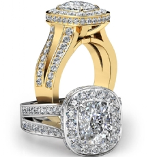 Split Shank Circa Halo Pave Cushion diamond engagement Ring in 18k Gold Yellow