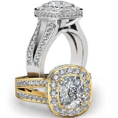 Split Shank Circa Halo Pave Cushion diamond engagement Ring in 14k Gold White