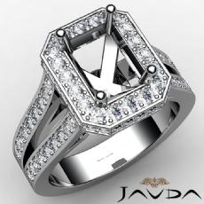 Diamond Engagement Emerald SemiMount Pave Set Ring 14k W Gold Split Shank 1.33Ct