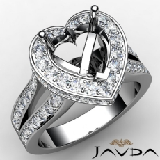 Heart Semi Mount Diamond Engagement Ring 14k W Gold Pre-Set Split Shank 1.31Ct