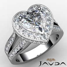 Split Shank Pave Circa Halo Heart diamond engagement Ring in 14k Gold White