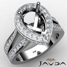 Diamond Engagement Pear Semi Mount Pave Set Ring 14k W Gold Split Shank 1.32Ct
