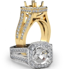 Pre-Set Diamond Engagement Ring 14k Gold Yellow Cushion Semi Mount Split Shank  (1.34Ct. tw.)