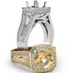 Pre-Set Diamond Engagement Ring 14k White Gold Cushion Semi Mount Split Shank 1.34Ct - javda.com