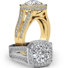 Circa Halo Split Shank Pave Round diamond engagement Ring in 18k Gold Yellow