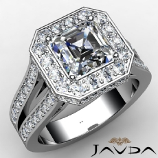 Halo Split Shank Cathedral Asscher diamond  Ring in 14k Gold White