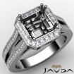 Halo Setting Diamond Engagement Asscher Ring 14k White Gold Semi Mount 0.88Ct - javda.com