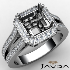 Halo Setting Diamond Engagement Asscher Ring 14K White Gold Semi Mount 0.88CT