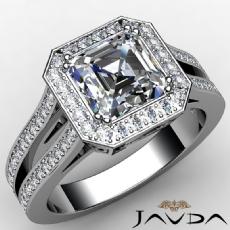Split Shank Halo Pave Filigree Asscher diamond  Ring in 14k Gold White