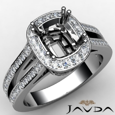 Cushion Diamond Engagement Ring 14K White Gold Halo Setting Semi Mount 0.86CT