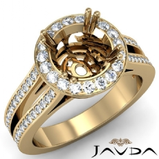 Diamond Engagement Ring 18k Gold Yellow Halo Setting Round Cut Semi Mount  (0.85Ct. tw.)