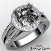 Diamond Engagement Ring 14k White Gold Halo Setting Round Cut Semi Mount 0.85Ct - javda.com