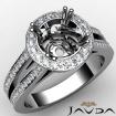 Diamond Engagement Ring 14k White Gold Halo Setting Round Cut Semi Mount 0.85Ct - javda.com