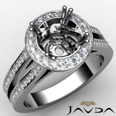 Diamond Engagement Ring Platinum 950 Halo Setting Round Cut Semi Mount  (0.85Ct. tw.)
