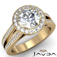 Filigree Halo Split Shank Round diamond engagement Ring in 18k Gold Yellow
