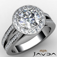 Filigree Halo Split Shank Round diamond engagement Ring in 14k Gold White