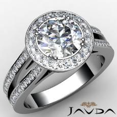 Filigree Halo Split Shank Round diamond engagement Ring in Platinum 950