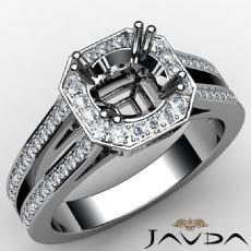 Halo Setting Round Cut Diamond Engagement Ring 14K White Gold Semi Mount 0.96CT
