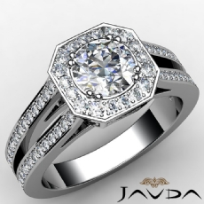 Halo Pave Stylish Dream Round diamond engagement Ring in 14k Gold White