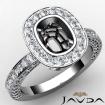 Diamond Engagement Bezel Halo Setting Cushion Semi Mount Ring 14k White Gold 1.54Ct - javda.com