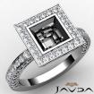 Princess Semi Mount Diamond Engagement Bezel Halo Set Ring 14k White Gold 1.48Ct - javda.com