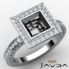 Princess Semi Mount Diamond Engagement Bezel Halo Set Ring 14k White Gold 1.48Ct