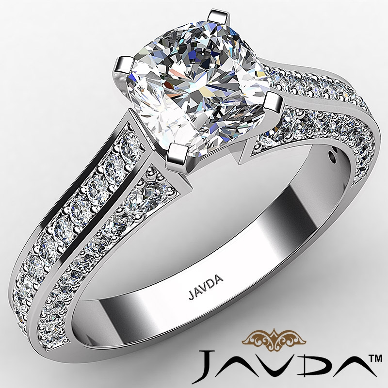 Micro Pave Setting Cathedral Cushion Diamond Engagement Ring 14k White Gold 1 8ctw