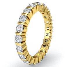 Round Diamond Bar Set Eternity Ring Women's Wedding Band 14k Gold Yellow  (1.5Ct. tw.)