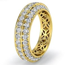 Trio Pave Round Diamond Wedding Womens Eternity Band 18k Gold Yellow Ring  (1.75Ct. tw.)