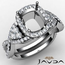 Halo Pave Setting Diamond Engagement Ring Cushion Semi Mount 14K W Gold 1.62Ct