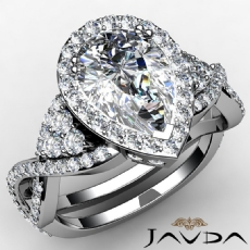 Cross-Shank Halo Pave Set Pear diamond engagement Ring in 14k Gold White