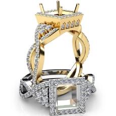 Halo Pre-Set Diamond Engagement Ring Princess Semi Mount 14k Gold Yellow  (1.65Ct. tw.)