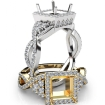 Halo Pre-Set Diamond Engagement Ring Princess Semi Mount 14k White Gold 1.65Ct - javda.com