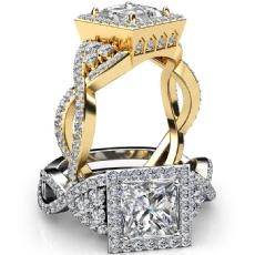 Designer Halo Cross Shank Princess diamond engagement Ring in 18k Gold Yellow