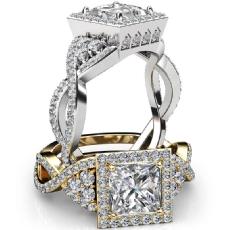 Designer Halo Cross Shank Princess diamond engagement Ring in Platinum 950