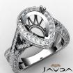 Diamond Engagement Pear Semi Mount Halo Pave Setting Ring 14k White Gold 1.45Ct - javda.com