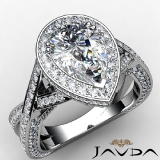 Cross Shank Pave Circa Halo Pear diamond engagement Ring in 14k Gold White