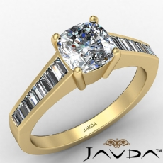 4 Prong Channel Baguette Set Cushion diamond engagement Ring in 14k Gold Yellow