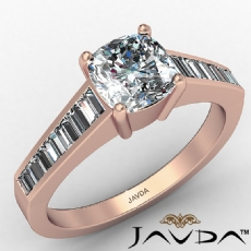 4 Prong Channel Baguette Set Cushion diamond engagement Ring in 14k Rose Gold
