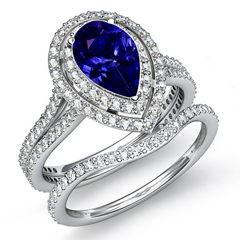 gala halo pave bridal set pear d block tanzanite engagement ring 14k white gold. Black Bedroom Furniture Sets. Home Design Ideas