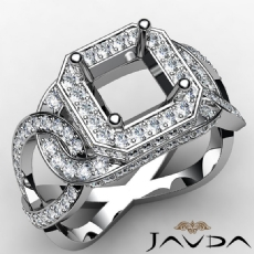 Diamond Engagement Halo Pave Setting Asscher Semi Mount Ring 14K W Gold 1.32Ct