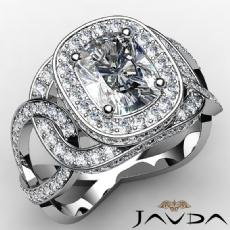 Sidestone Twist Shank Halo Cushion diamond engagement Ring in 14k Gold White