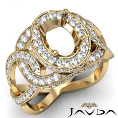 Halo Pave Setting Oval Semi Mount Diamond Engagement Ring 14k Gold Yellow  (1.33Ct. tw.)