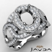 Halo Pave Setting Oval Semi Mount Diamond Engagement Ring 14k White Gold 1.33Ct - javda.com