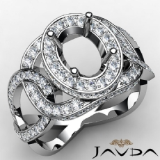 Halo Pave Setting Oval Semi Mount Diamond Engagement Ring 18k Gold White  (1.33Ct. tw.)