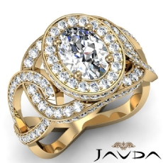 Twisted Style Halo Pave Oval diamond engagement Ring in 18k Gold Yellow